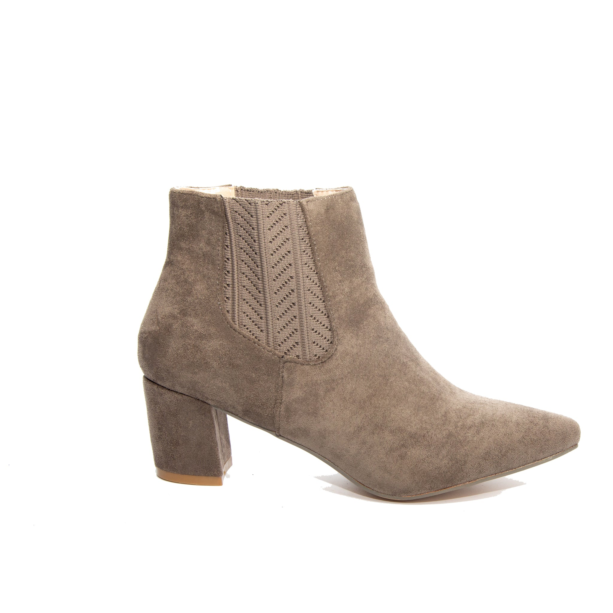 Chloe by Dolce Nome | Faux Suede Ankle Boots in Taupe (side view)