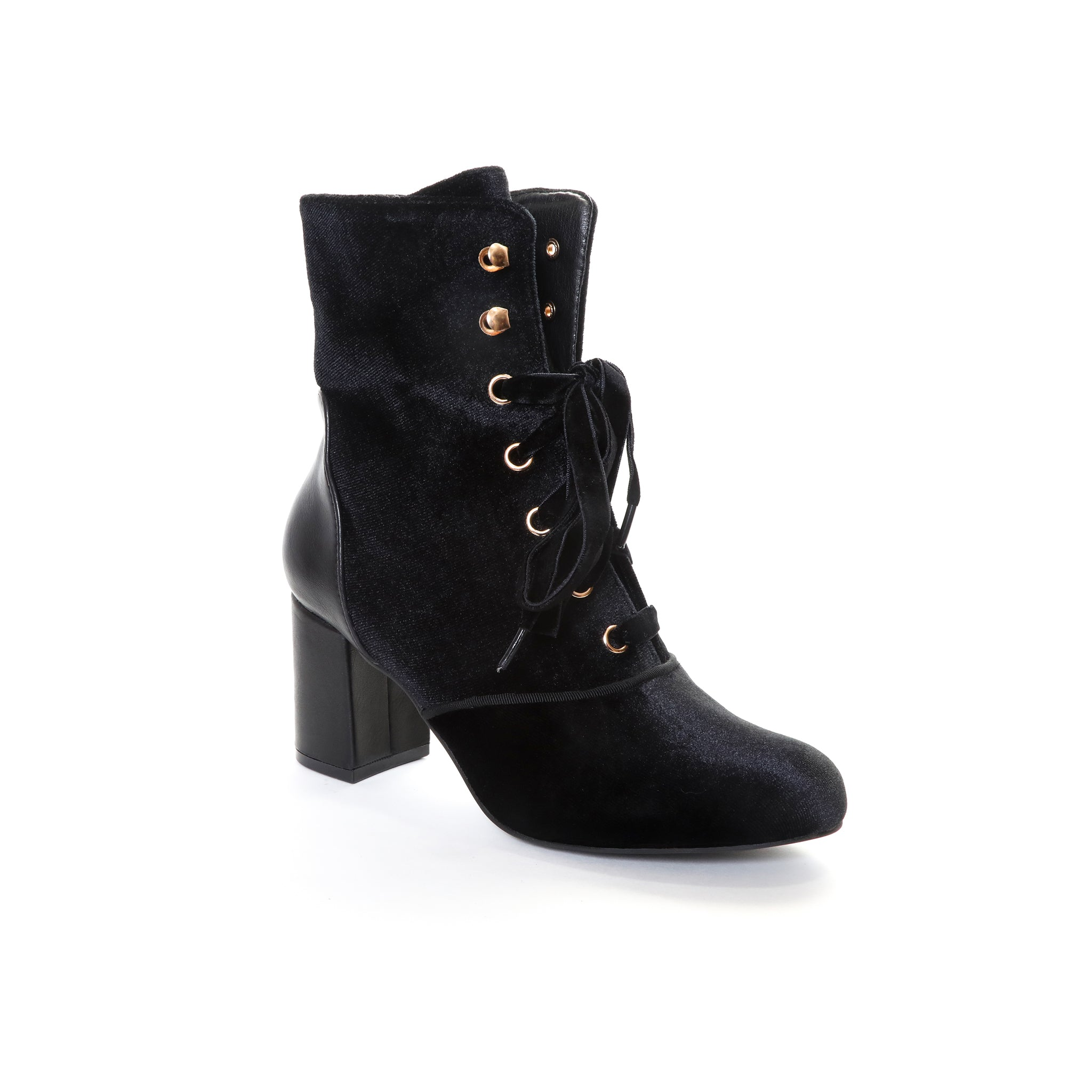 Claudia by Dolce Nome | Lace Up Heel Boots in Black (main view)