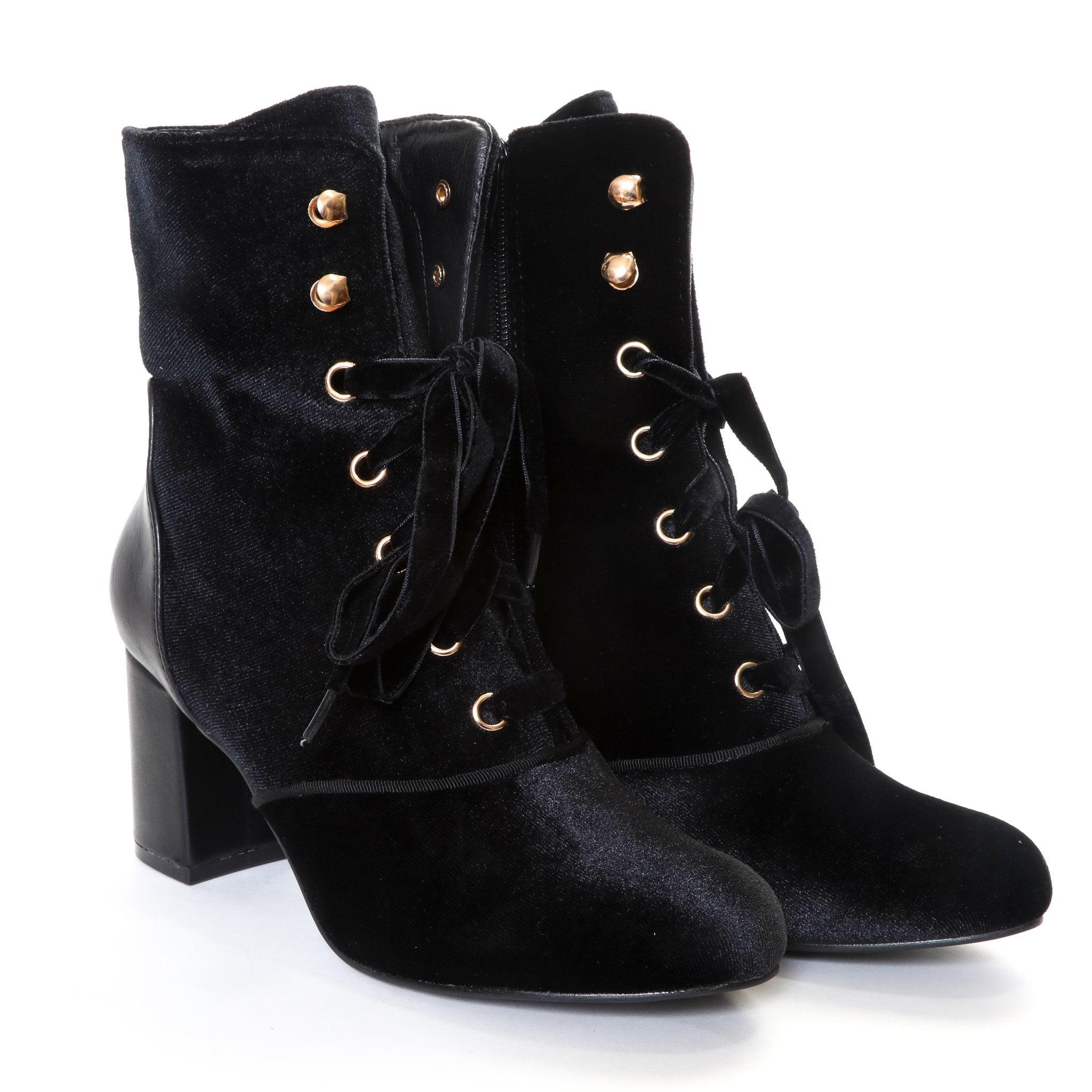 Claudia by Dolce Nome | Lace Up Heel Boots in Black (pair view)