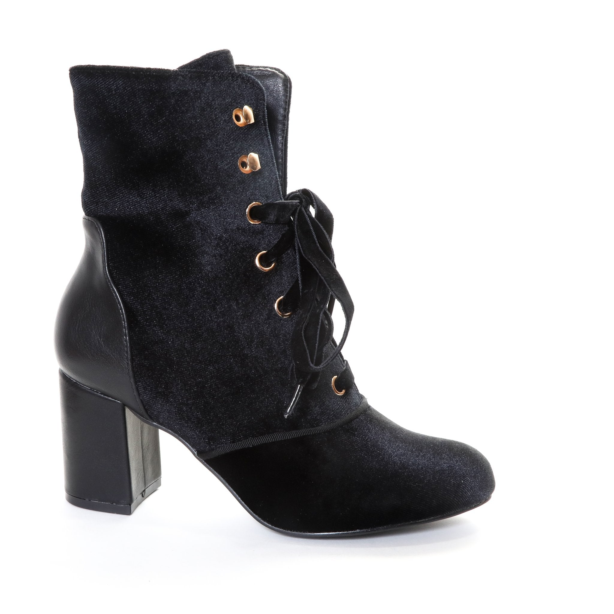 Claudia by Dolce Nome | Lace Up Heel Boots in Black (side view)