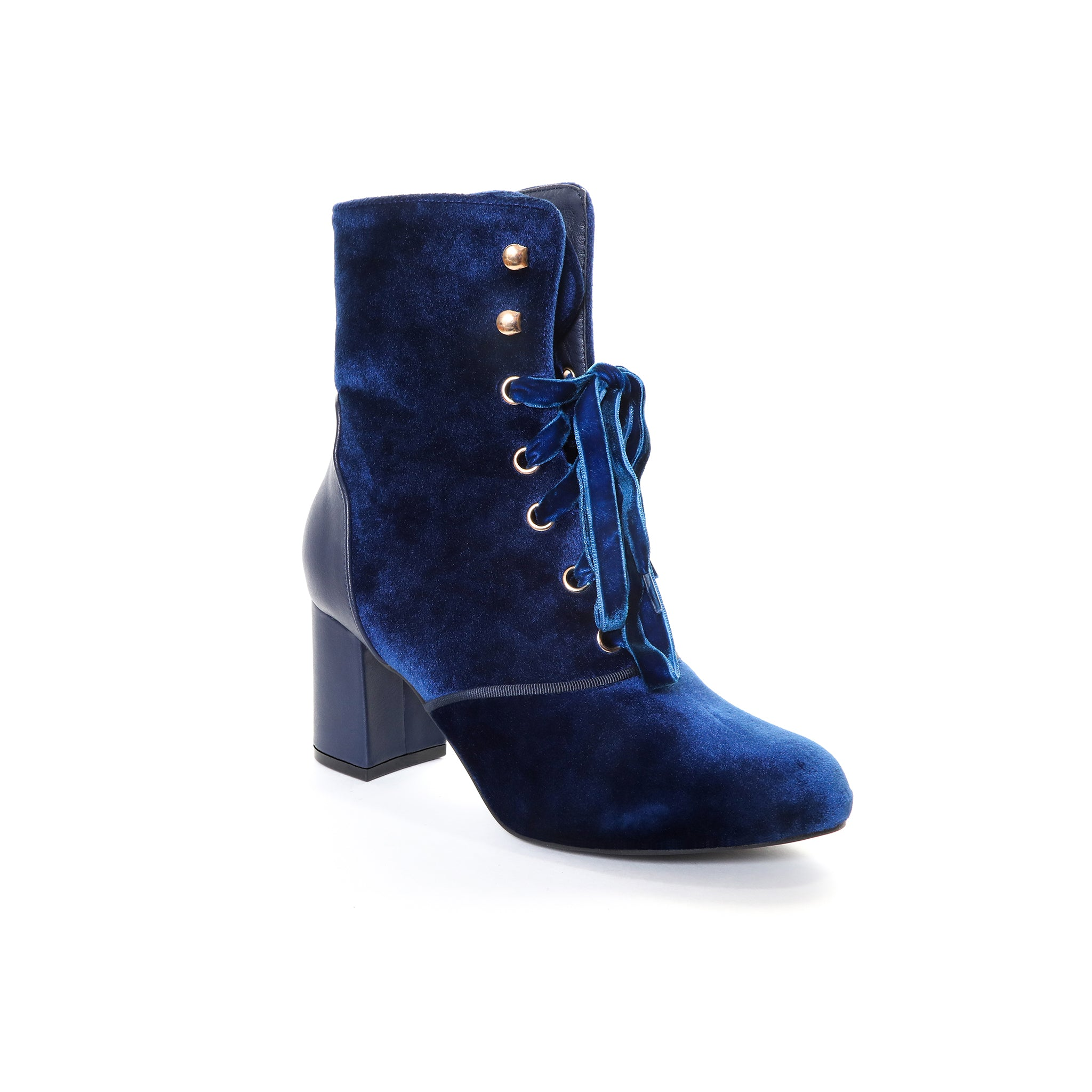 Claudia by Dolce Nome | Lace Up Heel Boots in Blue (main view)