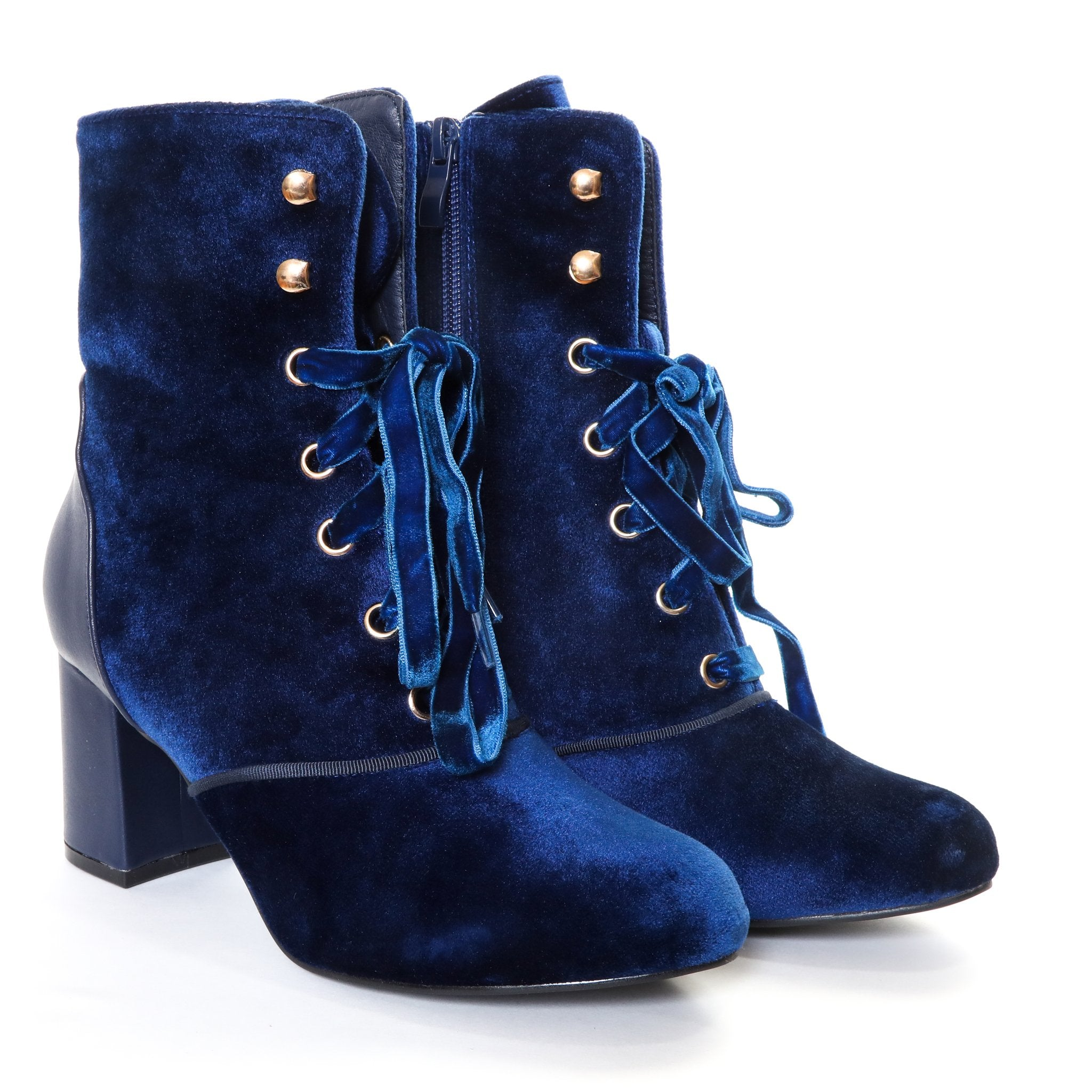 Claudia by Dolce Nome | Lace Up Heel Boots in Blue (pair view)