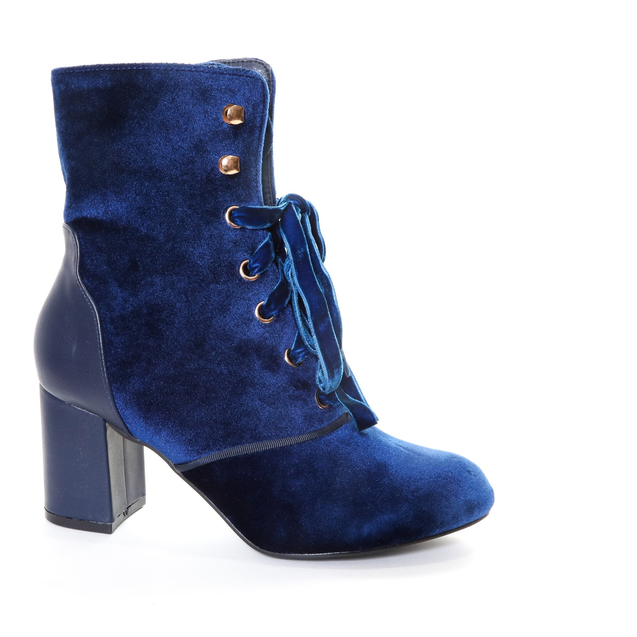 Claudia by Dolce Nome | Lace Up Heel Boots in Blue (side view)