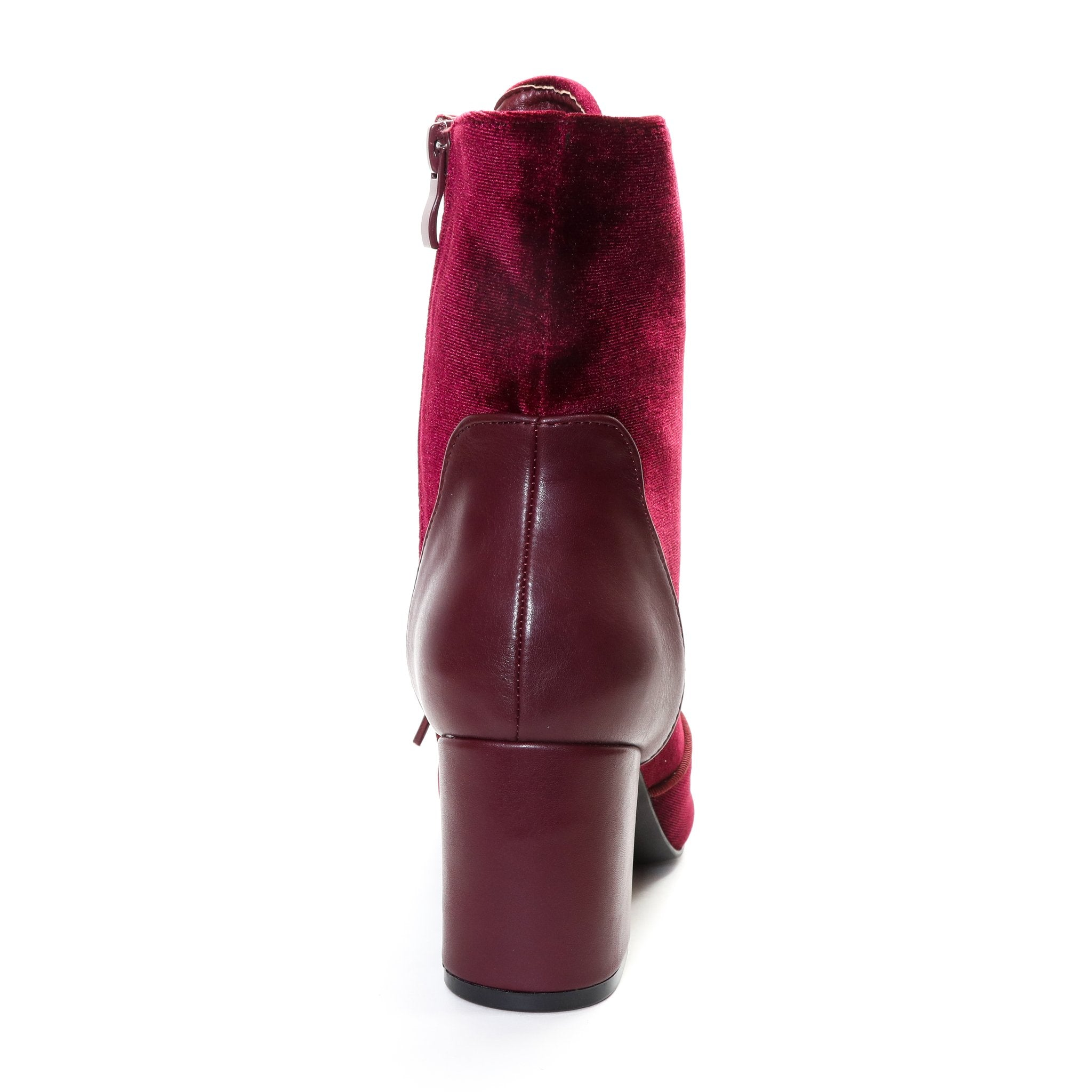 Claudia by Dolce Nome | Lace Up Heel Boots in Wine (back view)