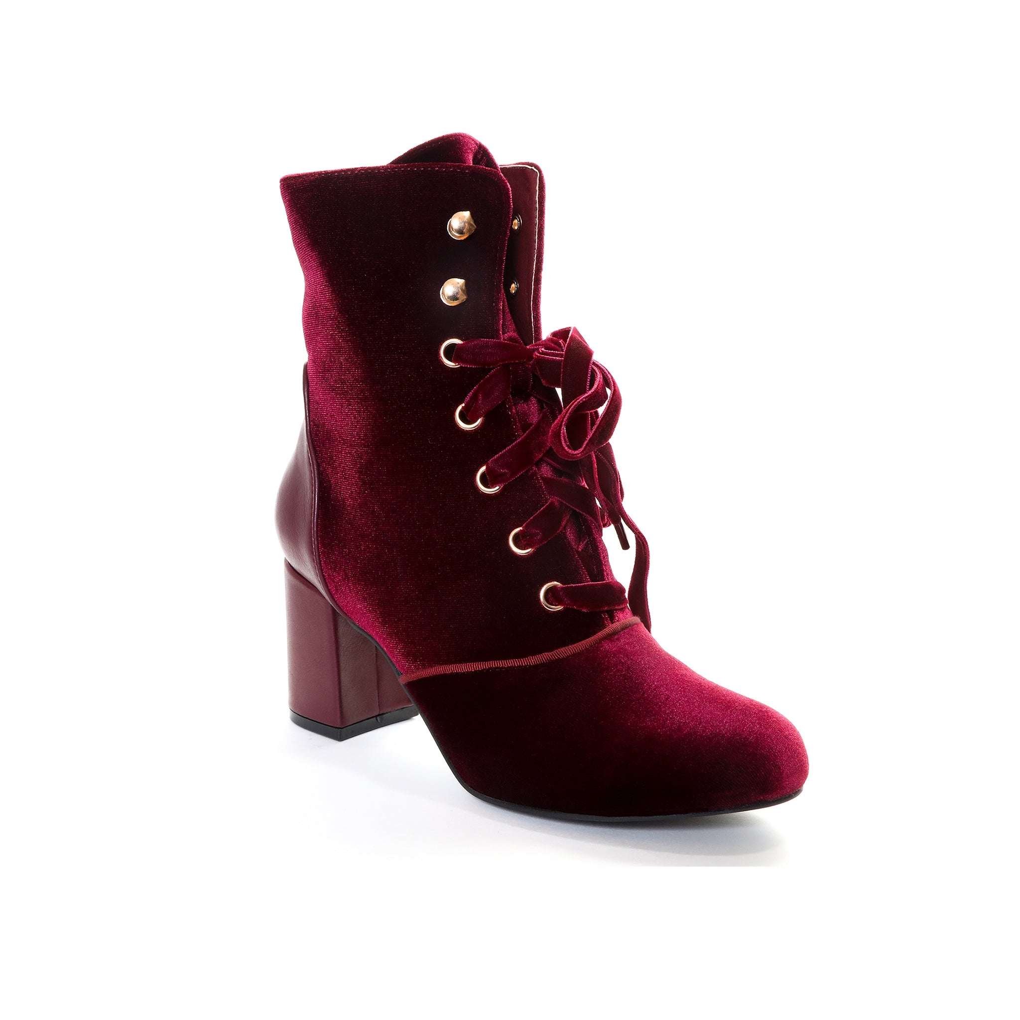 Claudia by Dolce Nome | Lace Up Heel Boots in Wine (main view)