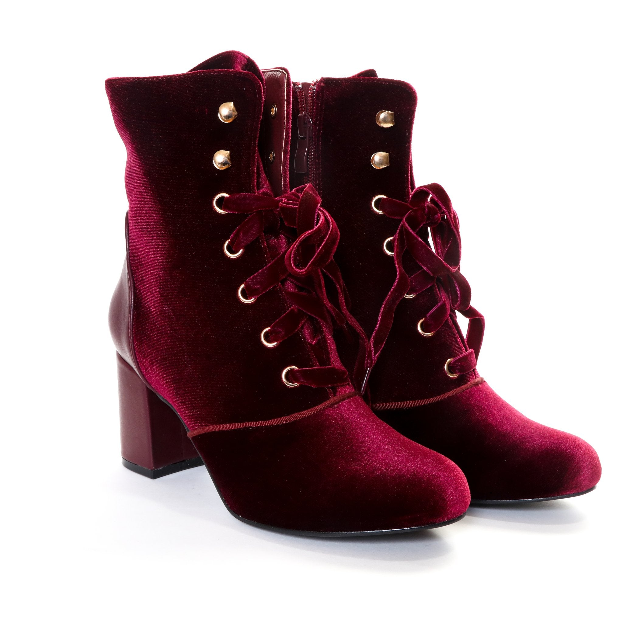 Claudia by Dolce Nome | Lace Up Heel Boots in Wine (pair view)