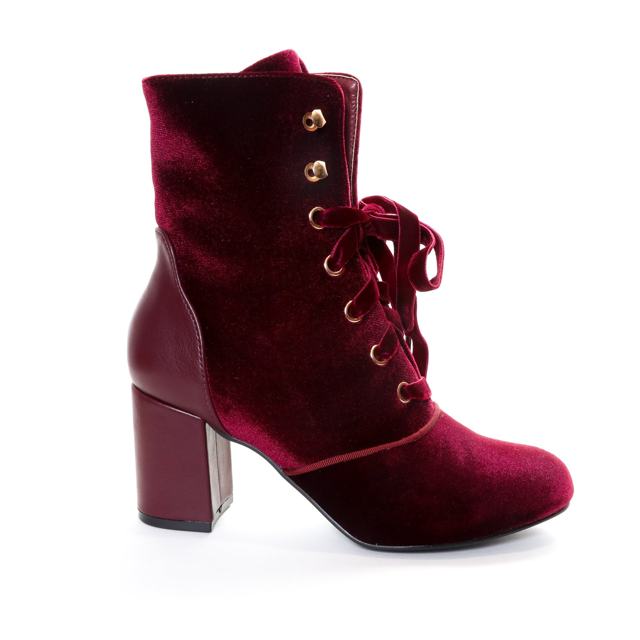 Claudia by Dolce Nome | Lace Up Heel Boots in Wine (side main view)