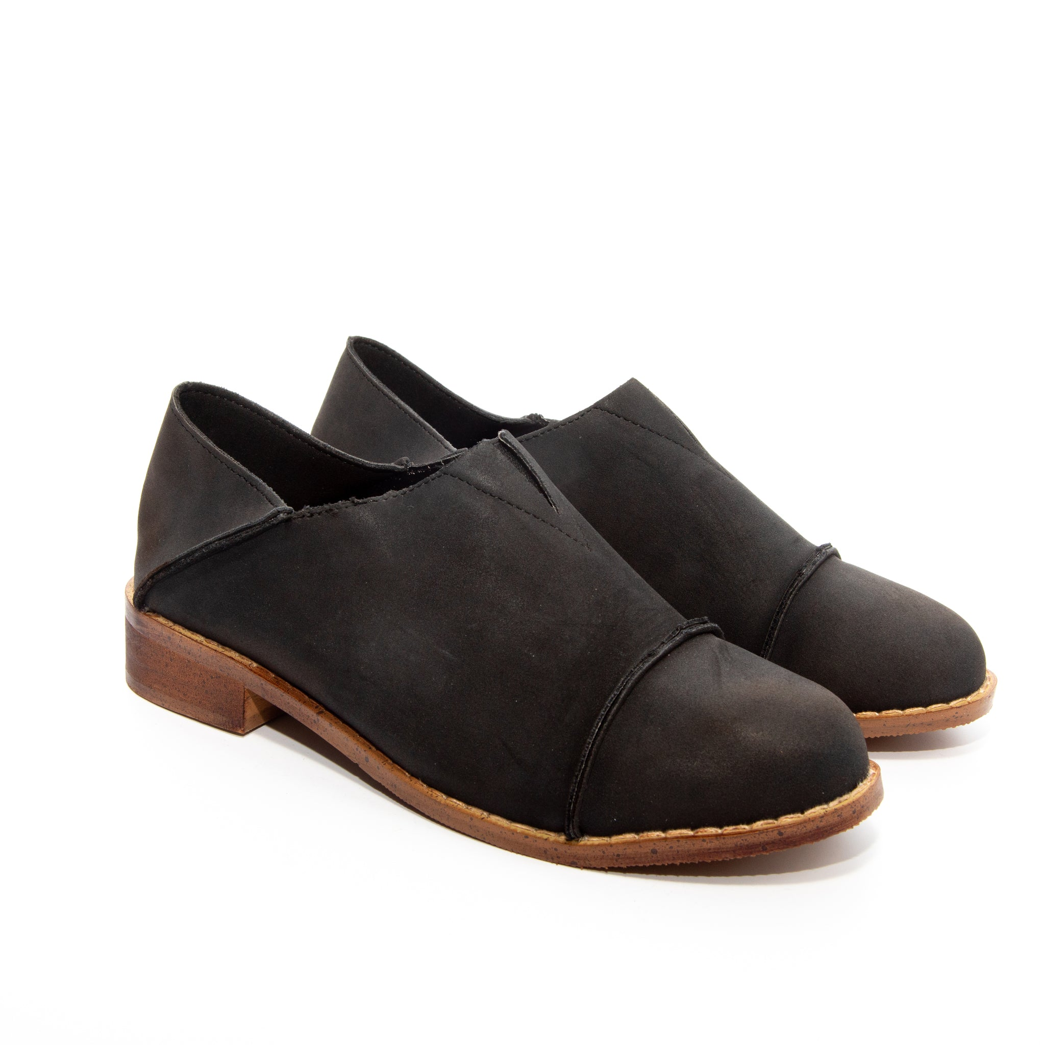 Diva by Dolce Nome | Slip-On Oxford Loafers in Black (pair view)