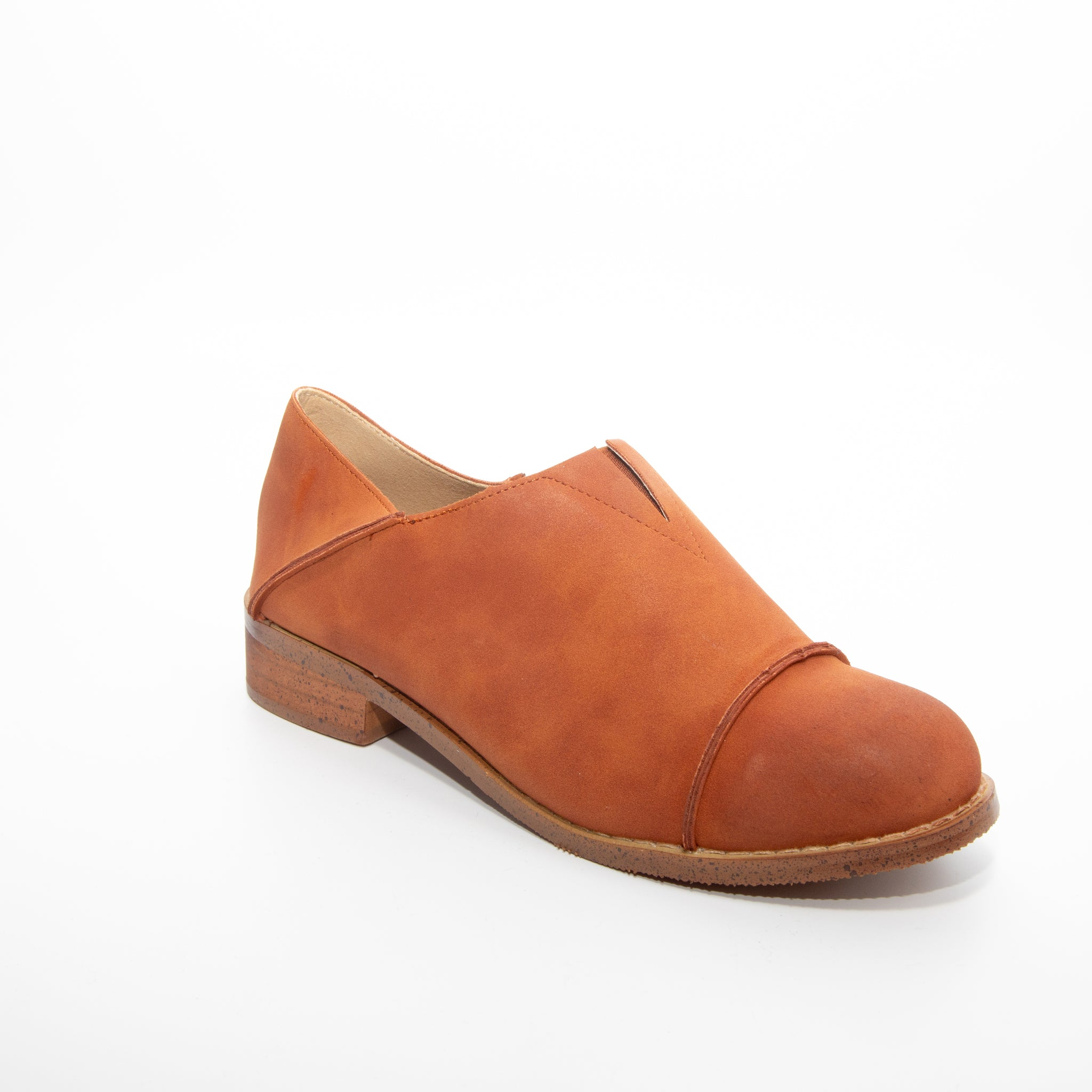 Diva by Dolce Nome | Slip-On Oxford Loafers in Rust (main view)