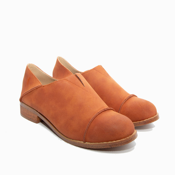 Diva by Dolce Nome | Slip-On Oxford Loafers in Rust (pair view)