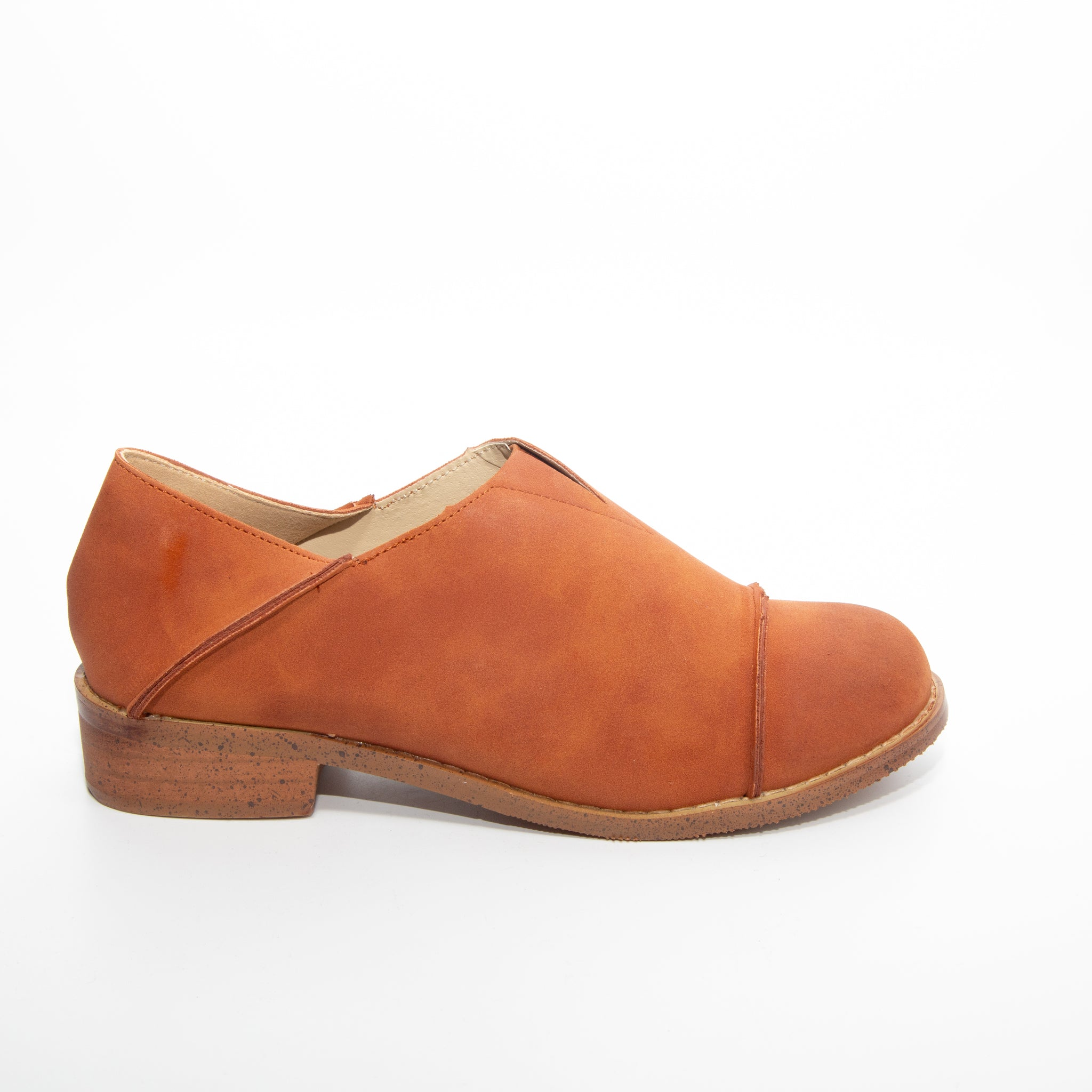 Diva by Dolce Nome | Slip-On Oxford Loafers in Rust (side view)