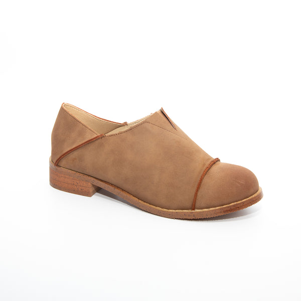 Diva by Dolce Nome | Slip-On Oxford Loafers in Taupe (main view)