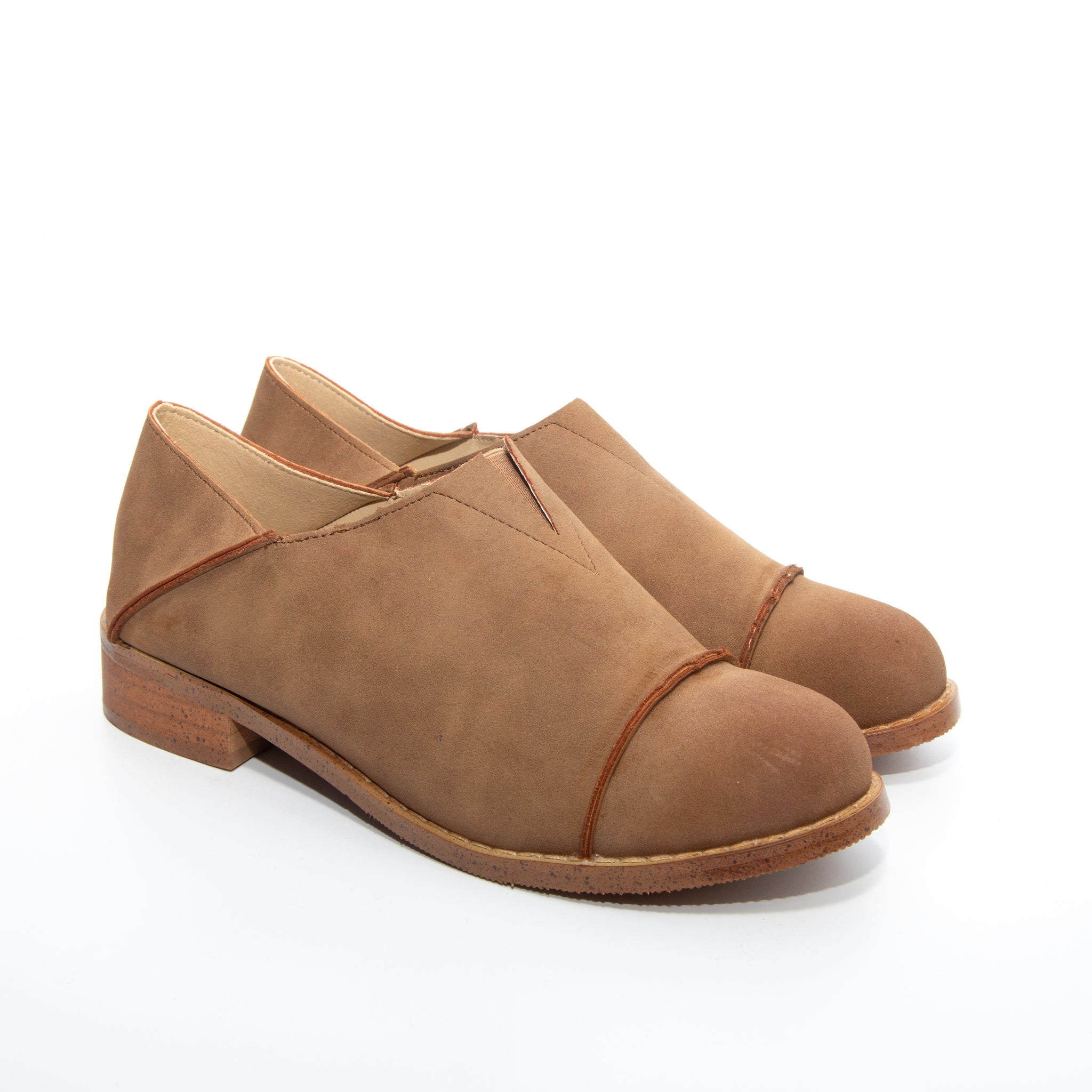 Diva by Dolce Nome | Slip-On Oxford Loafers in Taupe (pair view)