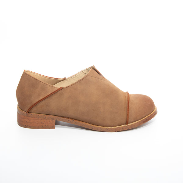 Diva by Dolce Nome | Slip-On Oxford Loafers in Taupe (side view)