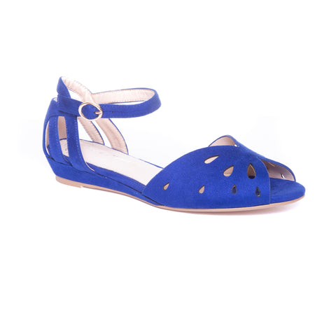 Flare by Dolce Nome | Ankle Strap Open Toe Sandals in Blue (main view)