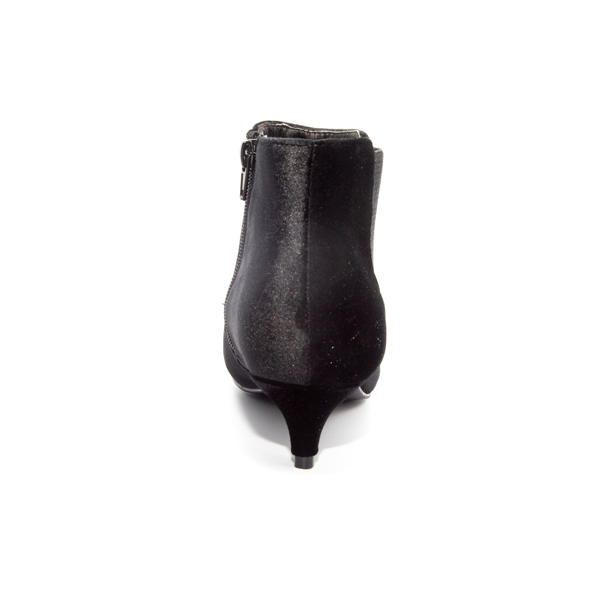 Kitten by Dolce Nome | Pull-On Heeled Booties in Black (back view)