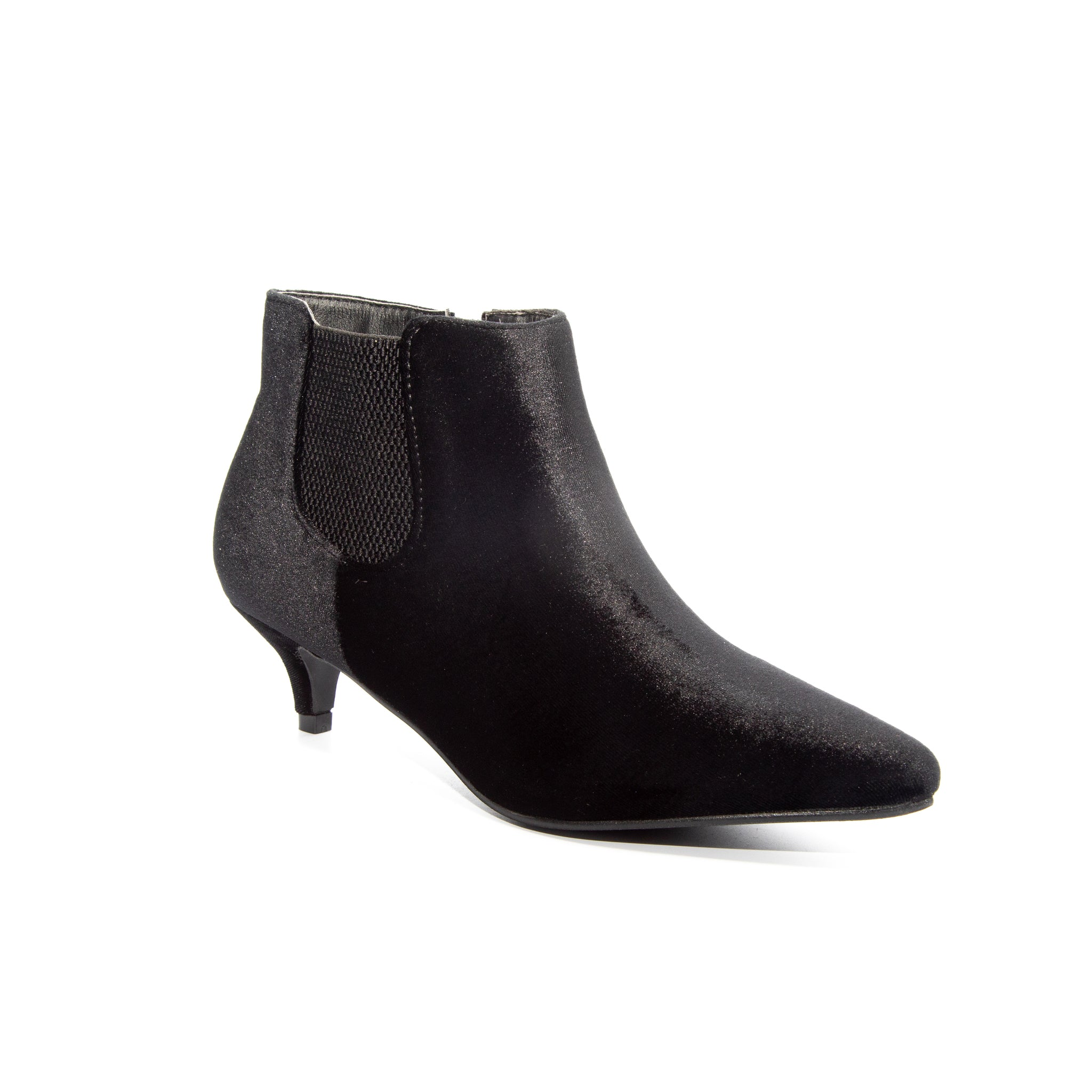 Kitten by Dolce Nome | Pull-On Heeled Booties in Black (main view)