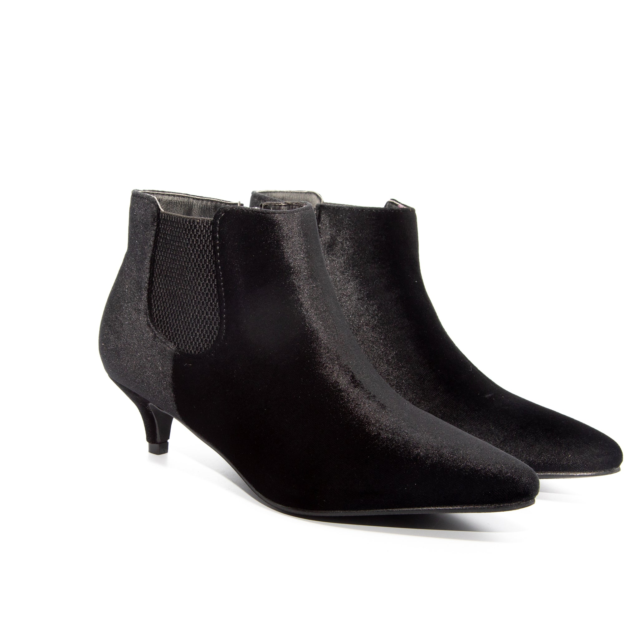 Kitten by Dolce Nome | Pull-On Heeled Booties in Black (pair view)