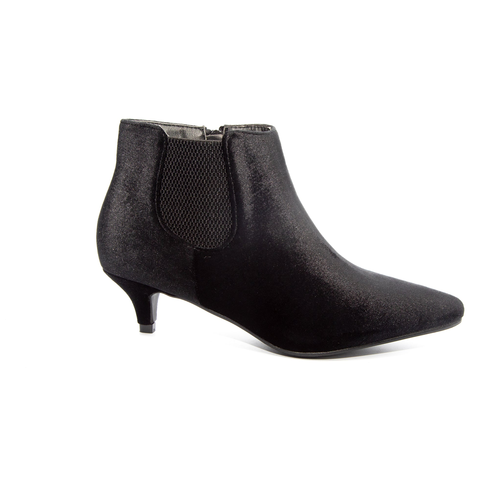 Kitten by Dolce Nome | Pull-On Heeled Booties in Black (side view)