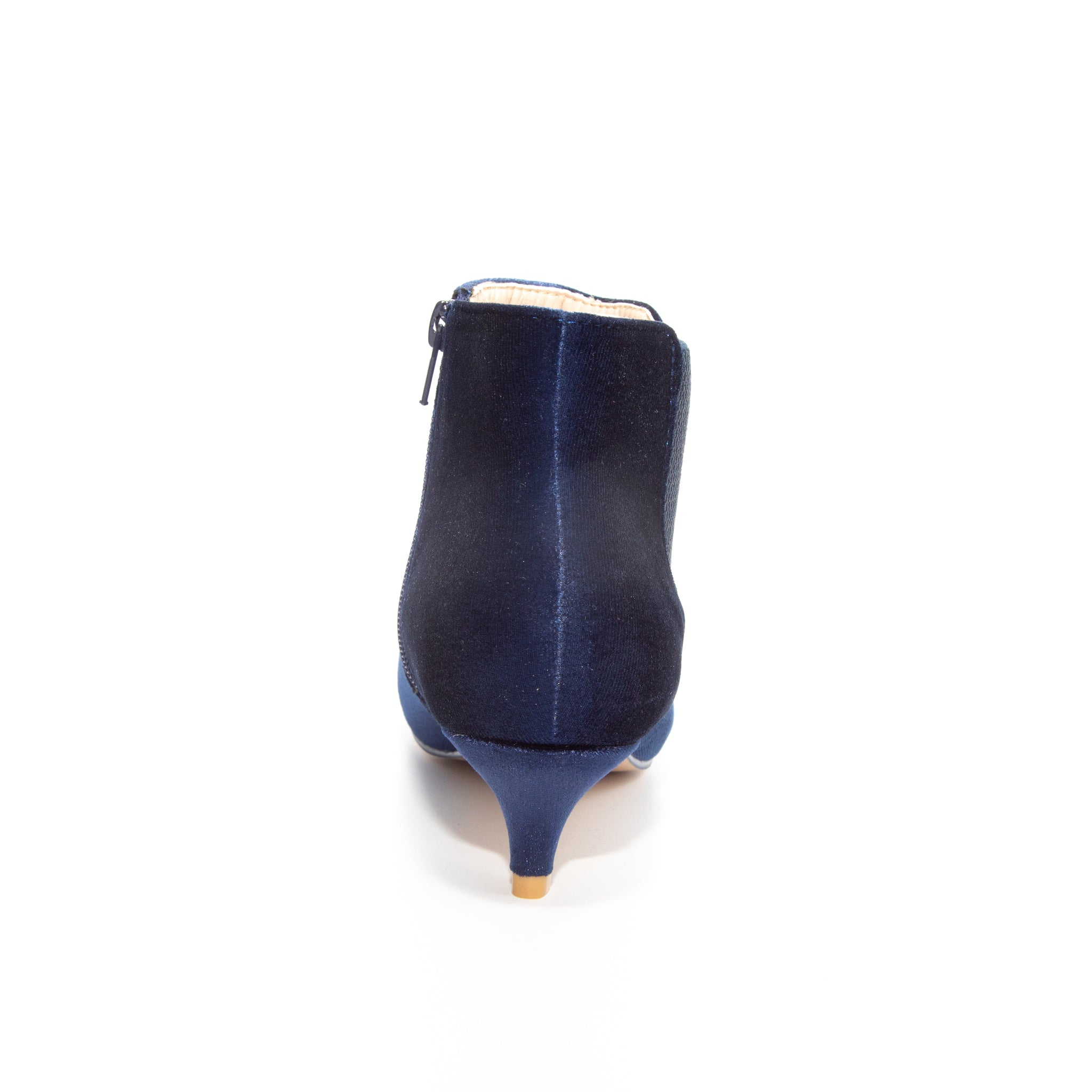 Kitten by Dolce Nome | Pull-On Heeled Booties in Blue (back view)