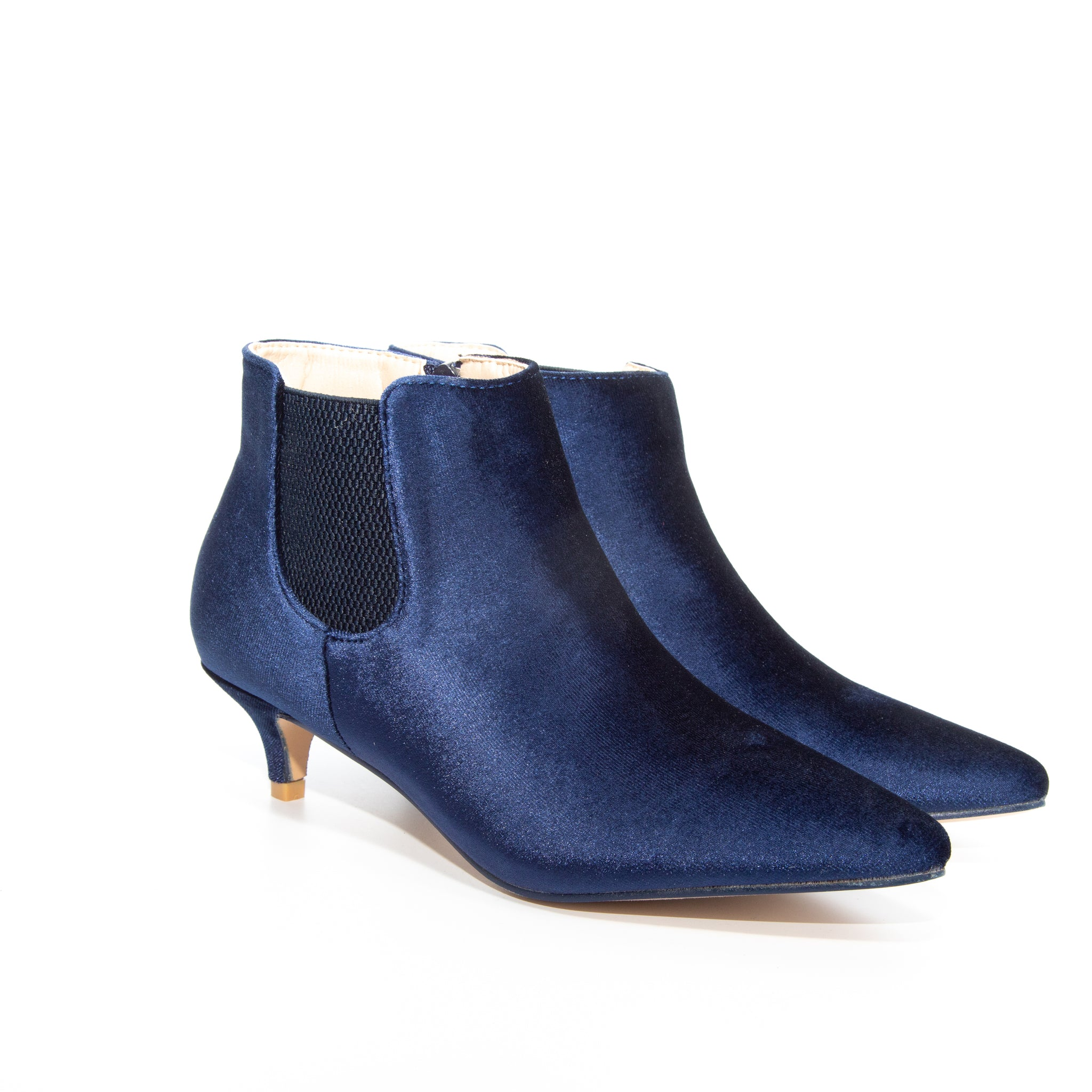 Kitten by Dolce Nome | Pull-On Heeled Booties in Blue (pair view)