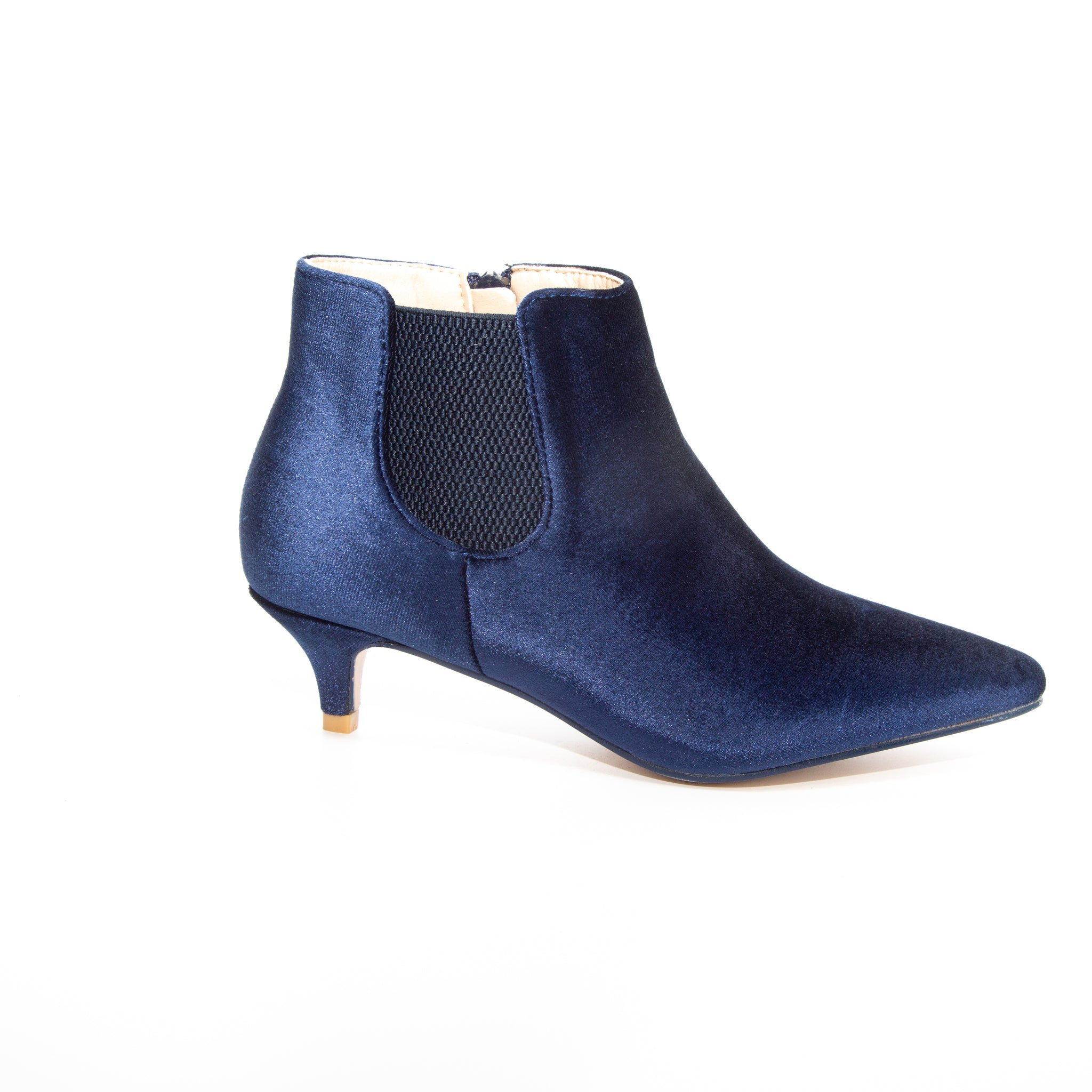 Kitten by Dolce Nome | Pull-On Heeled Booties in Blue (side view)