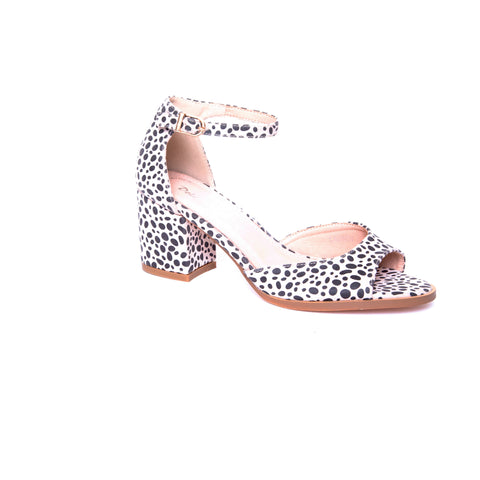 Lauren by Dolce Nome | Peep Toe Heel Sandals in Beige Leopard (main view)