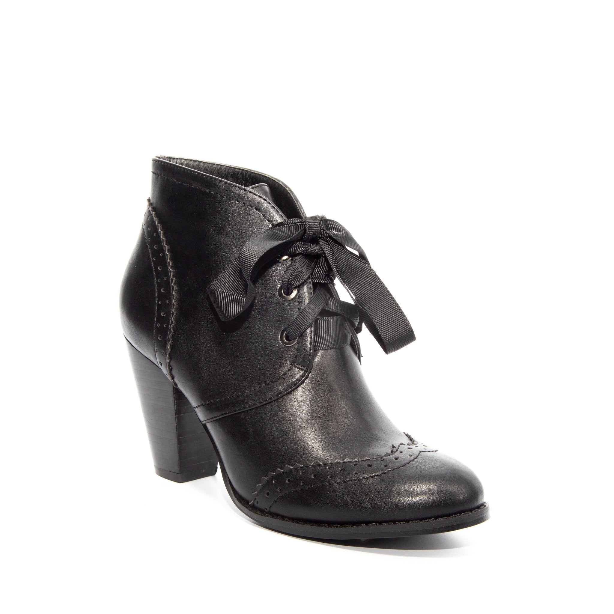 Melanie by Dolce Nome | Lace-Up Ankle Boots in Black (main view)