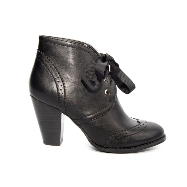Melanie by Dolce Nome | Lace-Up Ankle Boots in Black (side view)