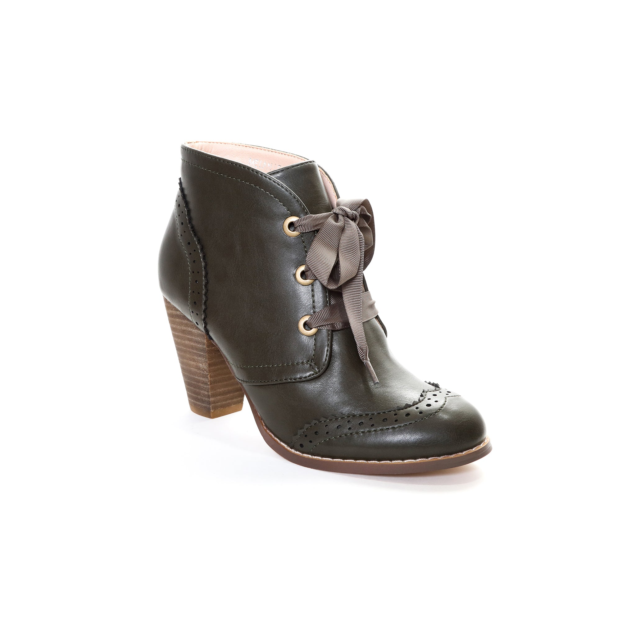 Melanie by Dolce Nome | Lace-Up Ankle Boots in Green (main view)