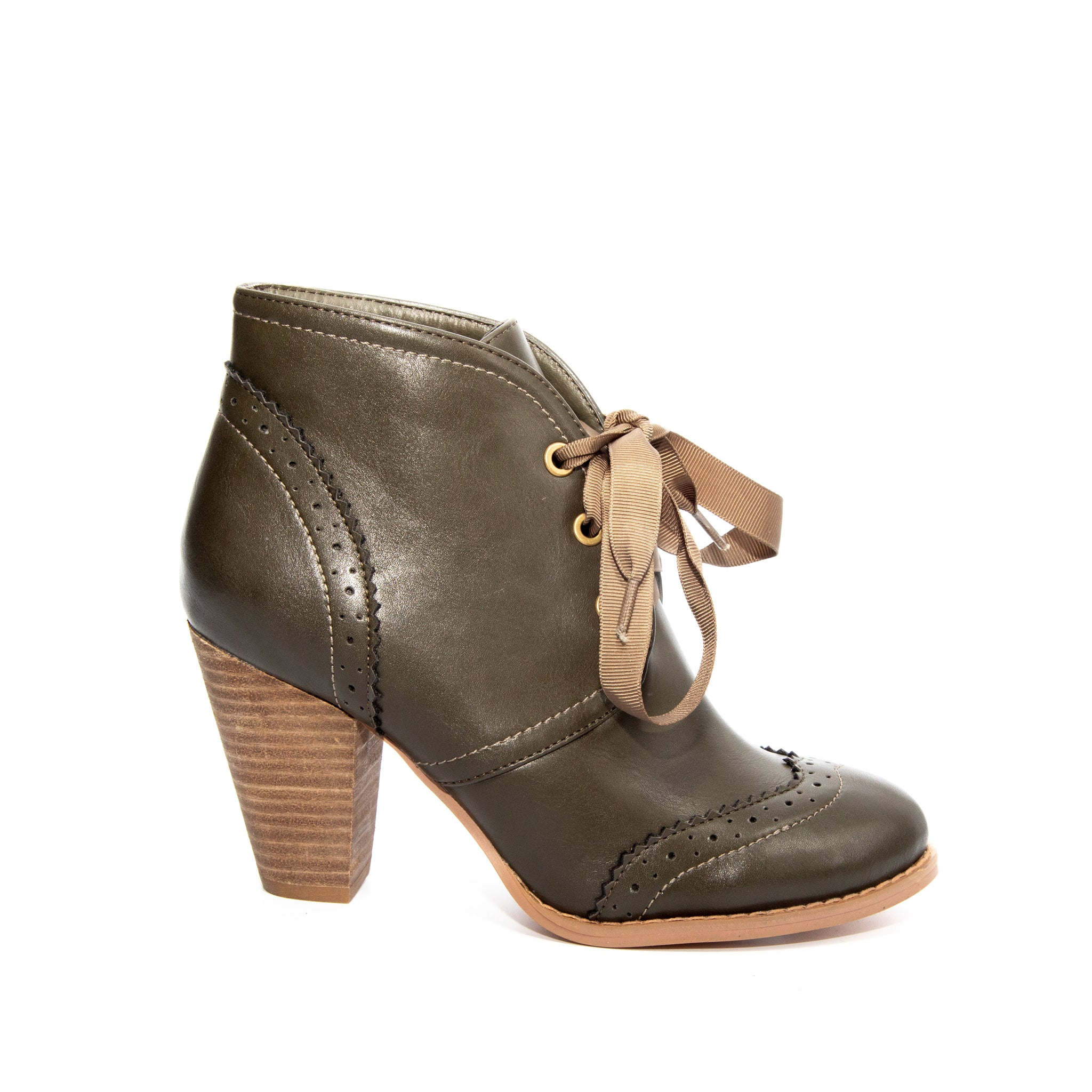Melanie by Dolce Nome | Lace-Up Ankle Boots in Green (side view)