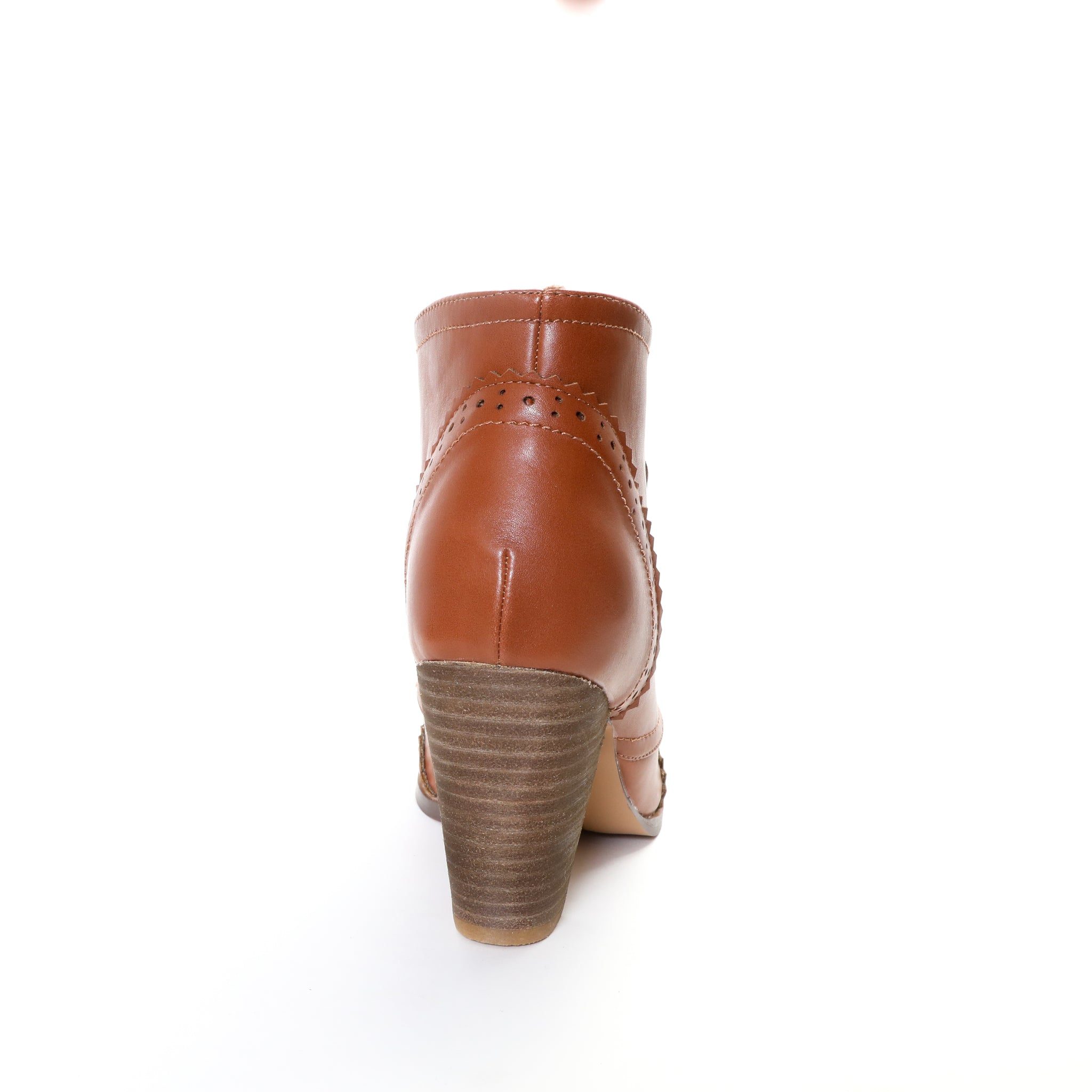 Melanie by Dolce Nome | Lace-Up Ankle Boots in Tan (back view)