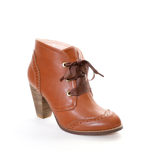 Melanie by Dolce Nome | Lace-Up Ankle Boots in Tan (main view)