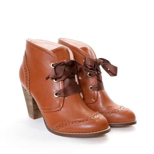 Melanie by Dolce Nome | Lace-Up Ankle Boots in Tan (pair view)