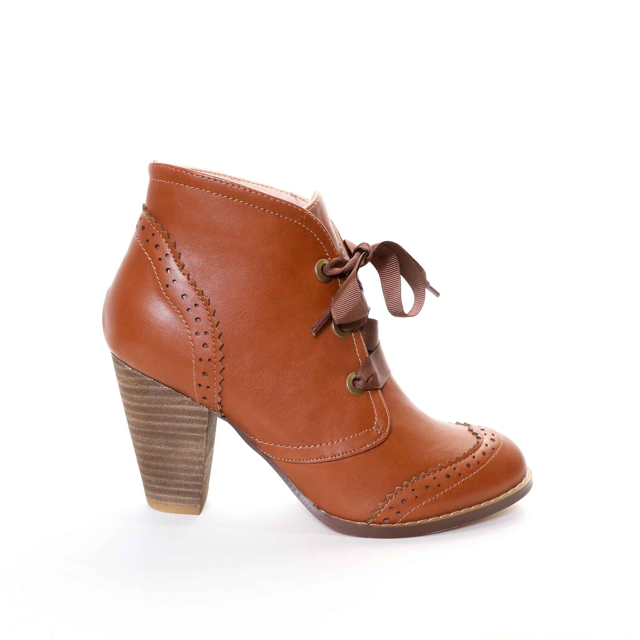Melanie by Dolce Nome | Lace-Up Ankle Boots in Tan (side view)
