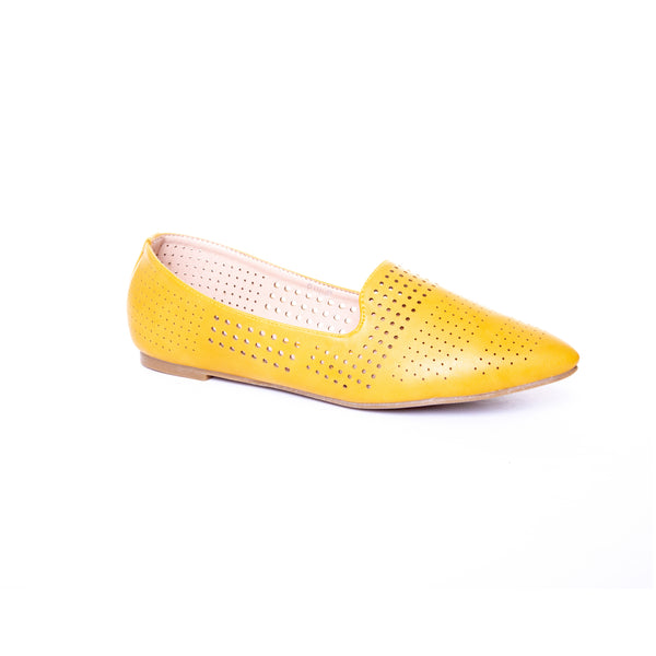 Pinup by Dolce Nome | Pointed Toe Ballet Flats in Mustard (main view)