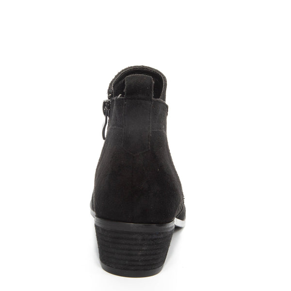 Roxie by Dolce Nome | Faux Suede Booties in Black (back view)