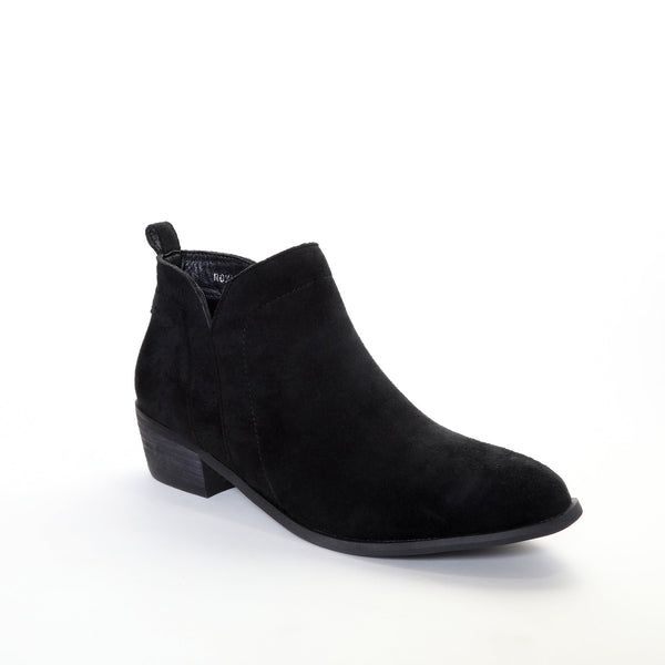 Roxie by Dolce Nome | Faux Suede Booties in Black (main view)