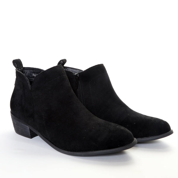 Roxie by Dolce Nome | Faux Suede Booties in Black (pair view)