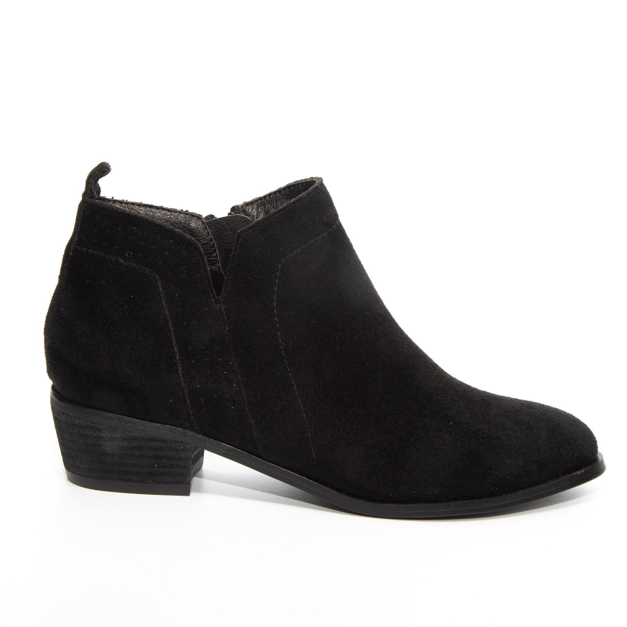 Roxie by Dolce Nome | Faux Suede Booties in Black (side view)
