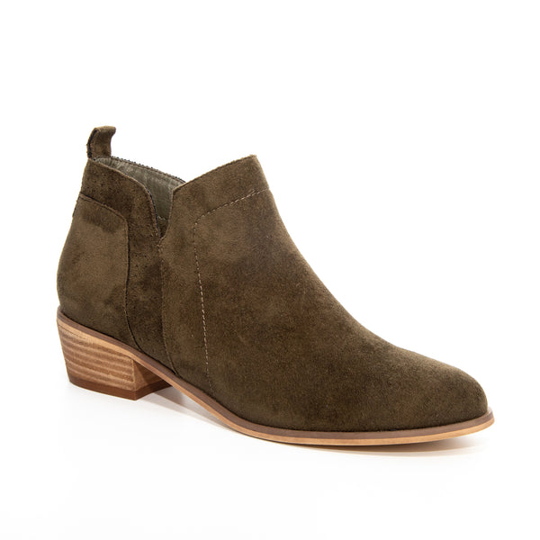 Roxie by Dolce Nome | Faux Suede Booties in Olive (main view)