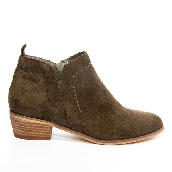 Roxie by Dolce Nome | Faux Suede Booties in Olive (side view)