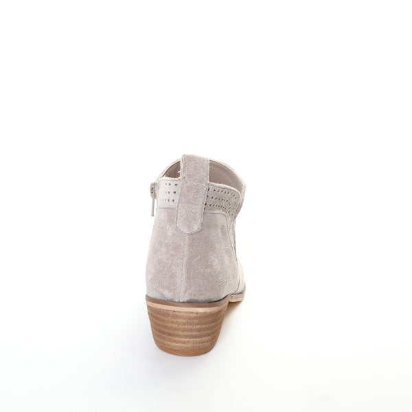 Roxie by Dolce Nome | Faux Suede Booties in Taupe (back view)