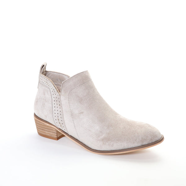 Roxie by Dolce Nome | Faux Suede Booties in Taupe (main view)