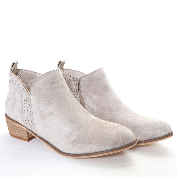 Roxie by Dolce Nome | Faux Suede Booties in Taupe (pair view)