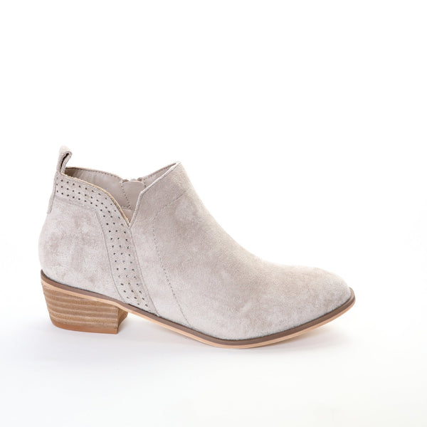 Roxie by Dolce Nome | Faux Suede Booties in Taupe (side view)