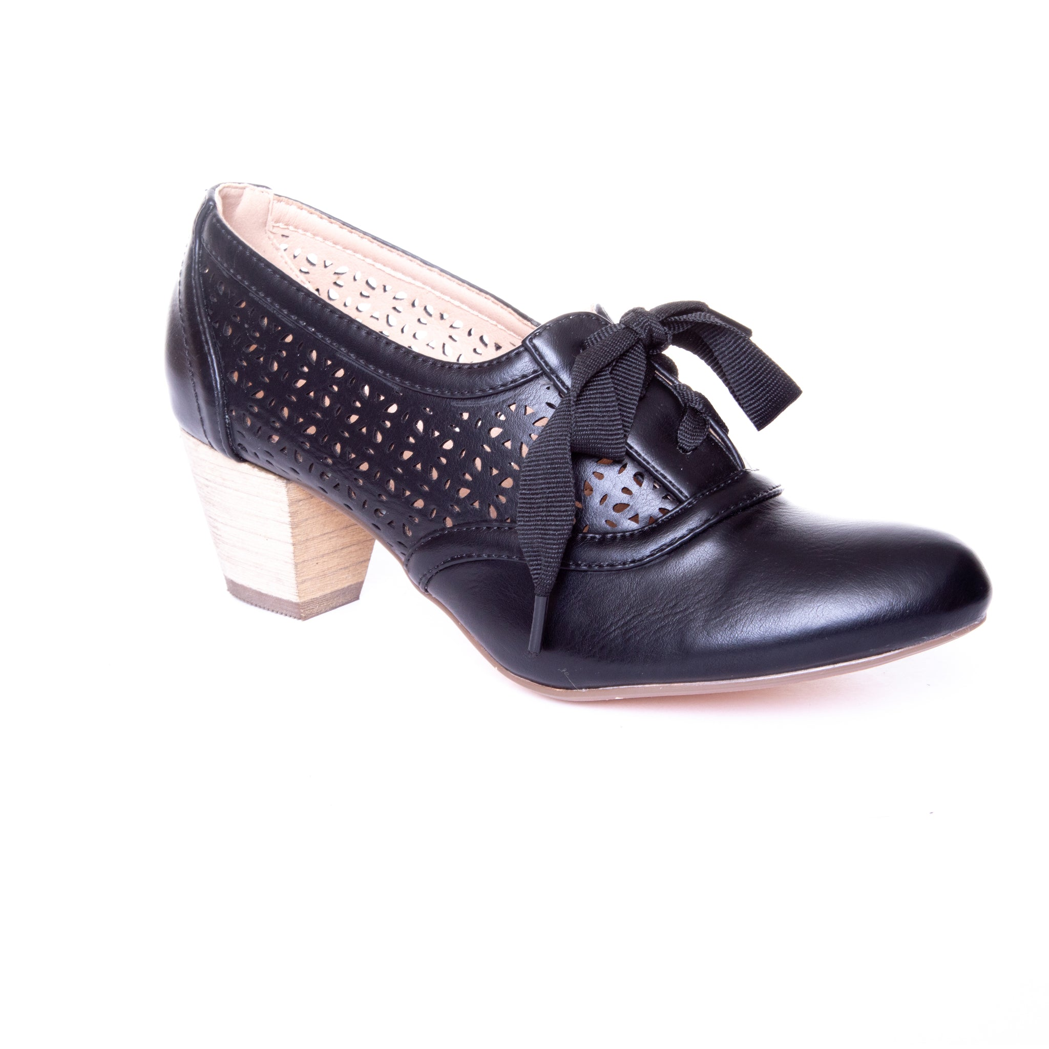 Selena by Dolce Nome | Lace Up Oxford Pumps in Black (main view)
