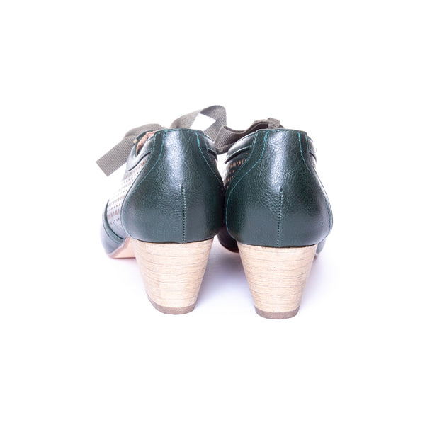 Selena by Dolce Nome | Lace Up Oxford Pumps in Green (back view)