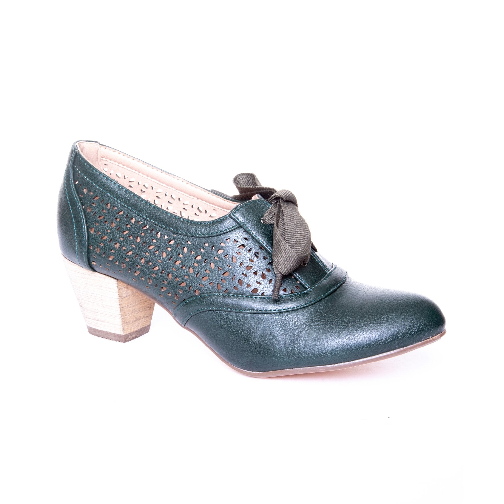 Selena by Dolce Nome | Lace Up Oxford Pumps in Green (main view)