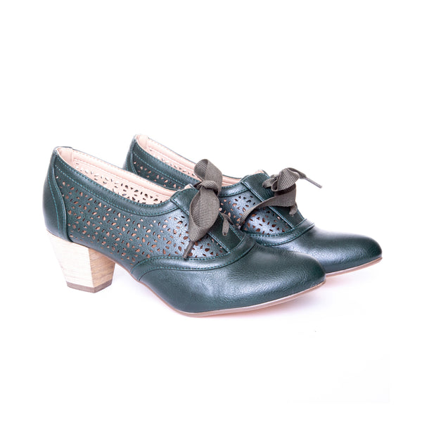 Selena by Dolce Nome | Lace Up Oxford Pumps in Green (pair view)